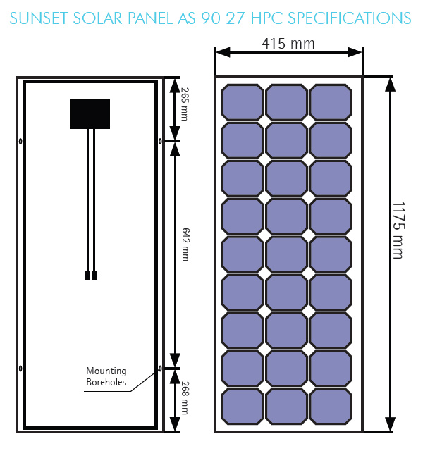 Sunset Solar panel AS 90 27 HPC specifications